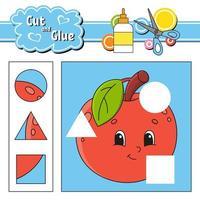 corta y pega. juego para niños. hoja de trabajo de desarrollo educativo. personaje de dibujos animados de manzana. página de actividad de color. dibujado a mano. ilustración vectorial aislada. vector