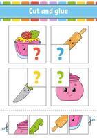 corta y pega. establecer tarjetas de memoria flash. rompecabezas de colores. hoja de trabajo de desarrollo educativo. página de actividad. juego para niños. personaje divertido. ilustración vectorial aislada. estilo de dibujos animados. vector
