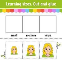 tamaños de aprendizaje. corta y pega. nivel fácil. hoja de trabajo de actividad de color. juego para niños. personaje animado. ilustración vectorial. vector