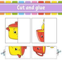 cortar y jugar. juego de papel con pegamento. tarjetas de memoria flash. hoja de trabajo de educación. página de actividad. personaje divertido. ilustración vectorial aislada. estilo de dibujos animados. vector