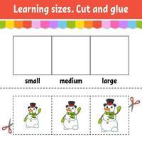 tamaños de aprendizaje. corta y pega. nivel fácil. tema de navidad. hoja de trabajo de actividad de color. juego para niños. personaje animado. ilustración vectorial. vector