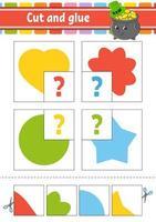 corta y pega. establecer tarjetas de memoria flash. hoja de trabajo de educación. página de actividad. juego para niños. círculo, estrella, corazón, flor. personaje animado. ilustración vectorial aislada. vector