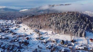 Sunset in the foggy ski resort video
