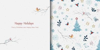 Winter holiday theme greeting card with seamless pattern for Christmas or new year decorative,celebrate party or invitation vector
