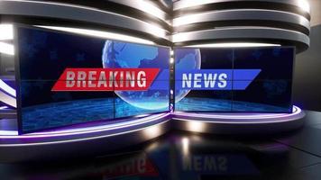 3D Virtual TV Studio News with green screen, 3D Rendering video