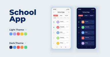 School app cartoon smartphone interface vector templates set. Education online. Mobile app screen page day and dark mode design. E learning UI for application. Phone display with flat character