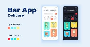 Bar app cartoon smartphone interface vector templates set. Shipping alcohol drinks. Mobile app screen page day and dark mode design. Pub menu UI for application. Phone display with flat character