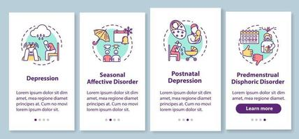 Mental disorder onboarding mobile app page screen with concepts. Psychological problems walkthrough four steps graphic instructions. Depression. UI vector template with RGB color illustrations
