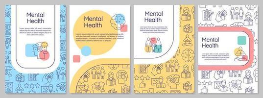 Plantilla de folleto de salud mental. bienestar psicológico. volante de psiquiatría, folleto, impresión de folletos, diseño de portada con iconos lineales. diseños vectoriales para revistas, informes anuales, carteles publicitarios vector
