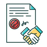 Conclusion of contract RGB color icon. Signed notarized document with stamp. Apostille and legalization. Legal agreement. Business deal. Partnership. Notary services. Isolated vector illustration