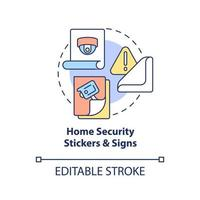 Home security stickers and signs concept icon. Burglary prevention abstract idea thin line illustration. Fake security system warning. Vector isolated outline color drawing. Editable stroke