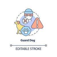 Guard dog concept icon. Domestic animal abstract idea thin line illustration. Pet trained to protect house from burglary. Family guardian. Vector isolated outline color drawing. Editable stroke