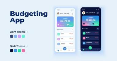 Budgeting app cartoon smartphone interface vector templates set. Mobile app screen page day and dark mode design. Managing finance UI for application. Phone display with flat character