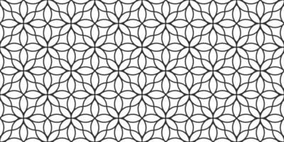 Floral linear monochrome seamless pattern in oriental style, delicate ornament, black and white texture vector