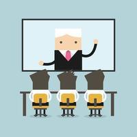 empresarios sentados en una silla, jefe hablando desde pantalla plana digital. vector