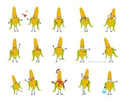 Set of characters corn with emotions, face, hands and legs. Smile or sad yellow vegetables with eyes, heroes fall in love, keep their distance in a mask, dance in a Santa hat vector