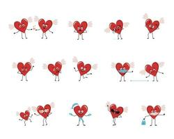 Set of red heart characters with emotions, face, arms and legs. Cheerful or sad festive decoration for valentine day falls in love, keeps distance in a mask, dances in a Santa hat vector