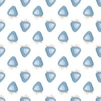 Cute simple seamless pattern with blue strawberries and leaves. Delicate print for wrapping paper, textiles and design vector
