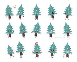 Set of cute Christmas tree character with emotions, face, arms and legs. Cheerful or sad festive decoration for New year falls in love, keep distance in mask, dance in Santa hat and expressions vector