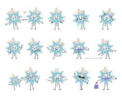 Set of cute Christmas snowflake character with emotions, face, arms and legs. Cheerful or sad festive decoration for New year falls in love, keep distance in mask, dance in Santa hat and expressions vector