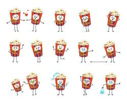 Set of popcorn in a holiday box characters with emotions, face, hands and legs. Happy or sad snack for cinema and films falls in love, keeps distance in a mask, dances in a Santa hat vector