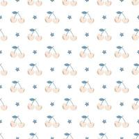 Cute simple seamless pattern with beige cherries, blue leaves and stars. Delicate berry print for kids wrapping paper, baby textiles and designs vector