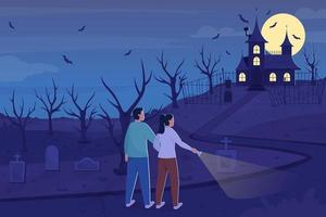Explore haunted mansion at night flat color vector illustration