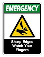 Emergency Sharp Edges Watch Your Fingers Symbol Sign on white background vector