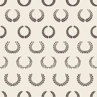 Vintage wreath pattern greek laurel awards seamless texture olive branches background vector