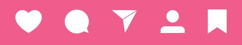 Los iconos planos de las redes sociales establecen el bocadillo de notificación para los botones de guardar comentarios compartidos vector