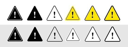 Exclamation mark of warning attention icon. Triangular warning symbols with Exclamation mark. Caution alarm set, danger sign collection, attention vector icon
