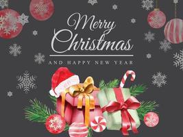 Beautiful card template christmas theme vector