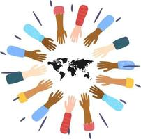 Hands in the air. Collection of multi-ethnic women's hands. The concept of diversity. we are the world vector