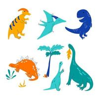 Collection of cute dinosaurs vector