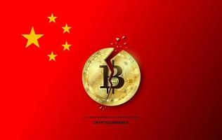 China government has announced a ban on financial institutions from using.cryptocurrency on cracked bitcoin concept vector
