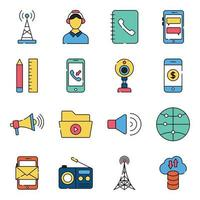 Pack of Network and Technology Flat Icons vector