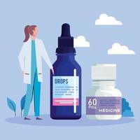 doctor with pills and drop bottle vector