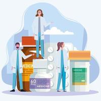 doctors with pills vector