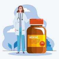 woman doctor with pills vector