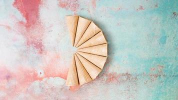 fan shaped empty waffle horns colorful background photo