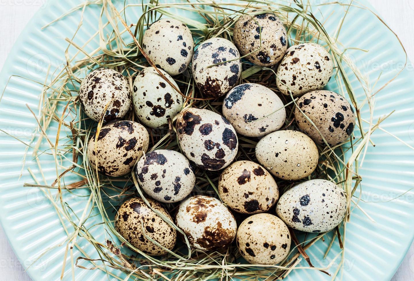 pasqua - uova di quaglia con fieno sul piatto blu pastello foto