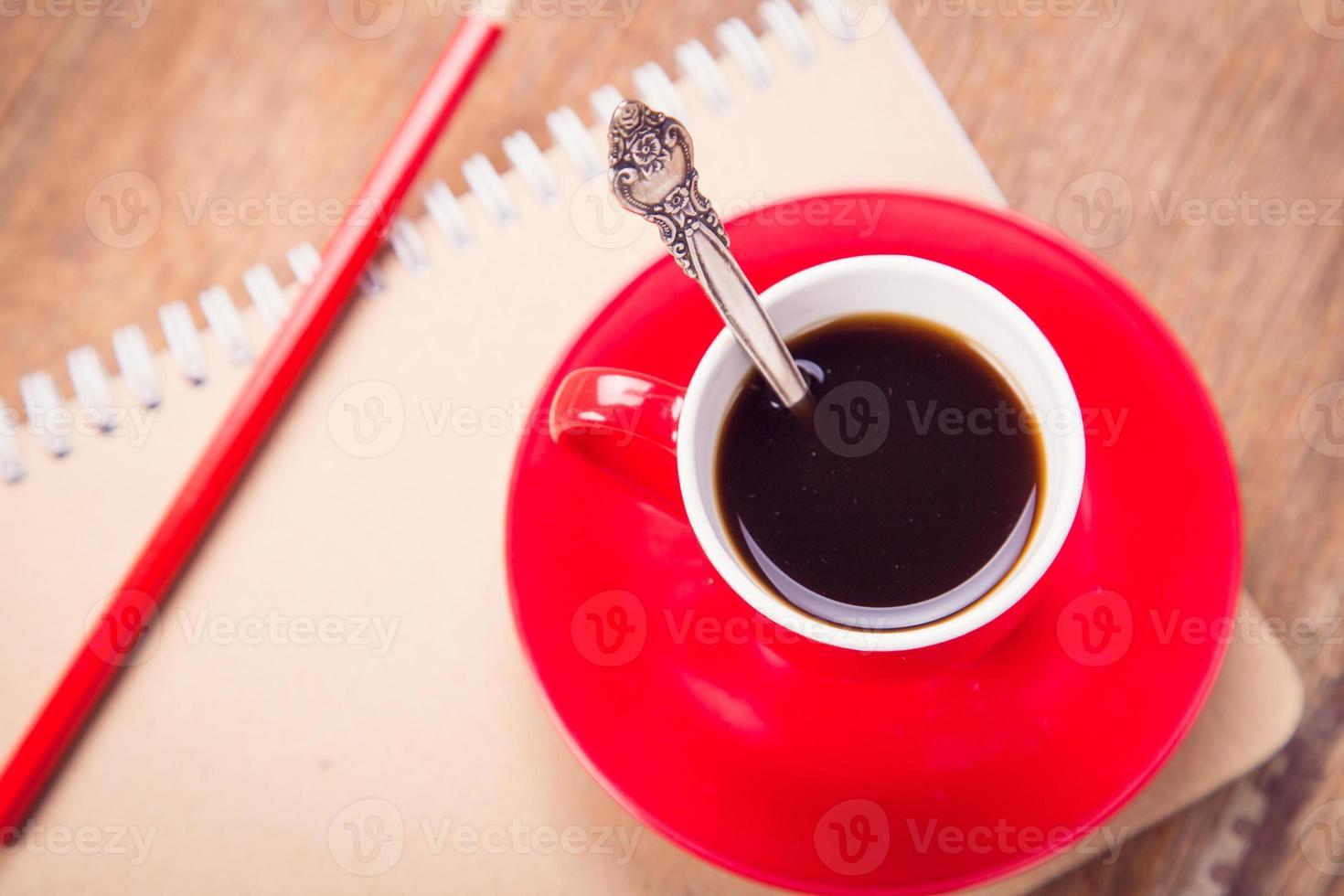 tazza con il taccuino foto