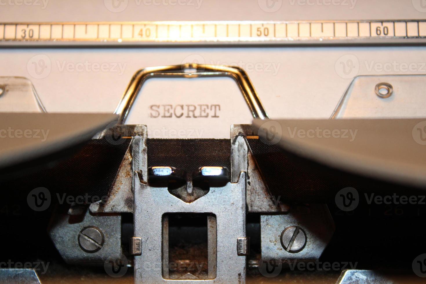 """""""segreto"""" digitato usando una vecchia macchina da scrivere foto"""