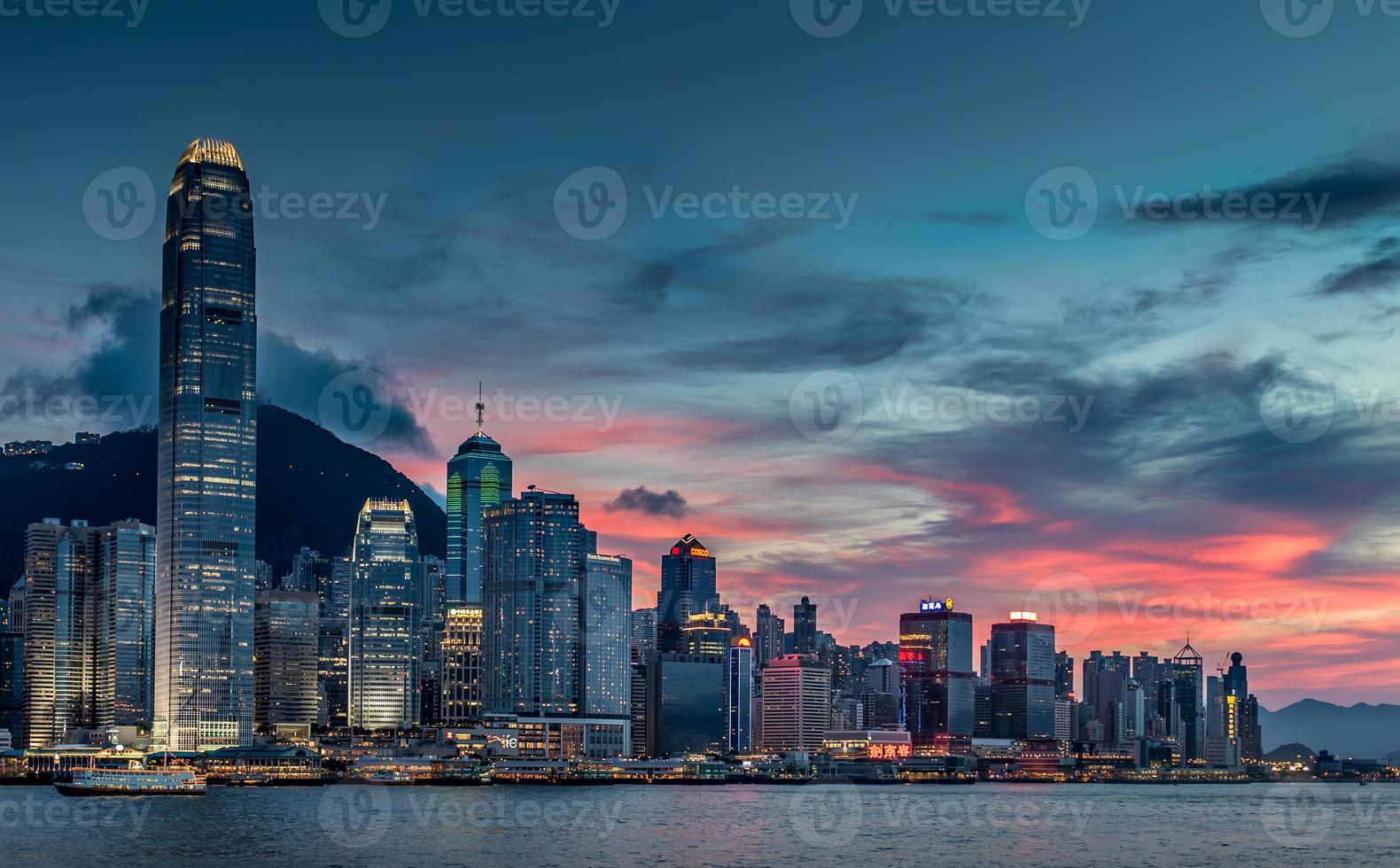 paesaggio urbano di Hong Kong, tramonto foto