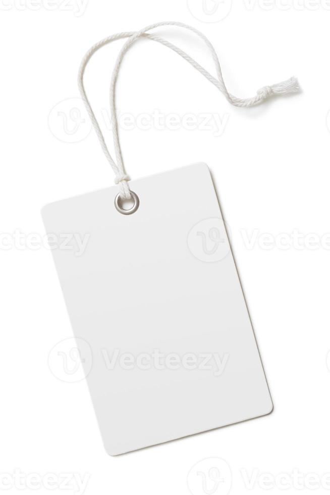 cartellino del prezzo della carta in bianco o etichetta isolata foto