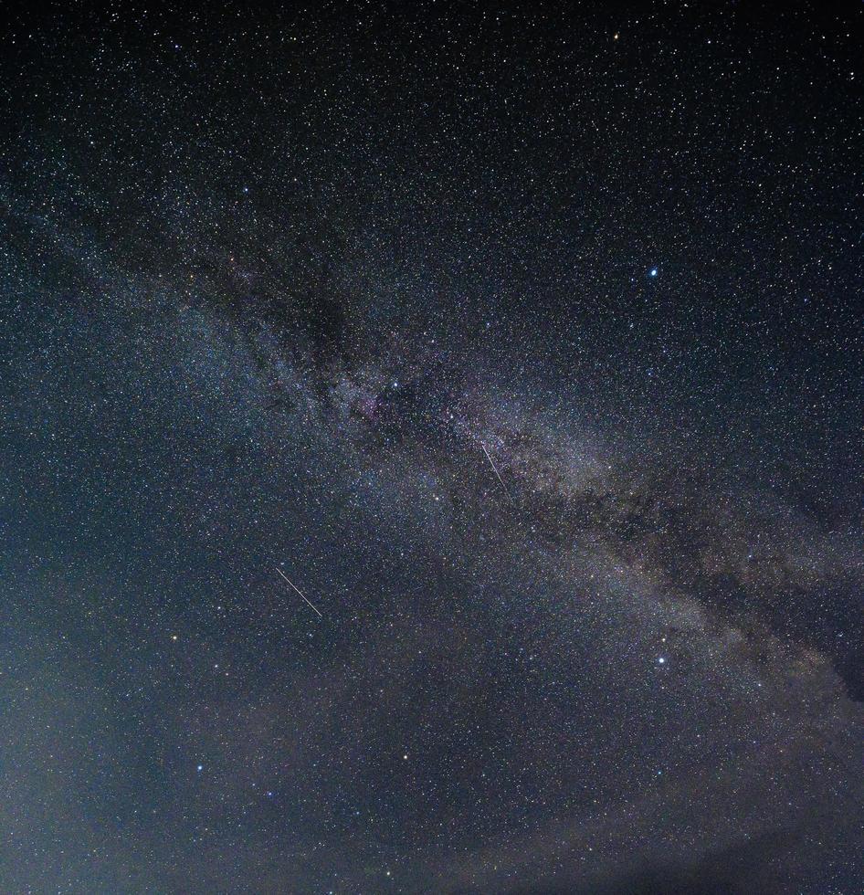 la galassia della Via Lattea in un cielo notturno stellato foto