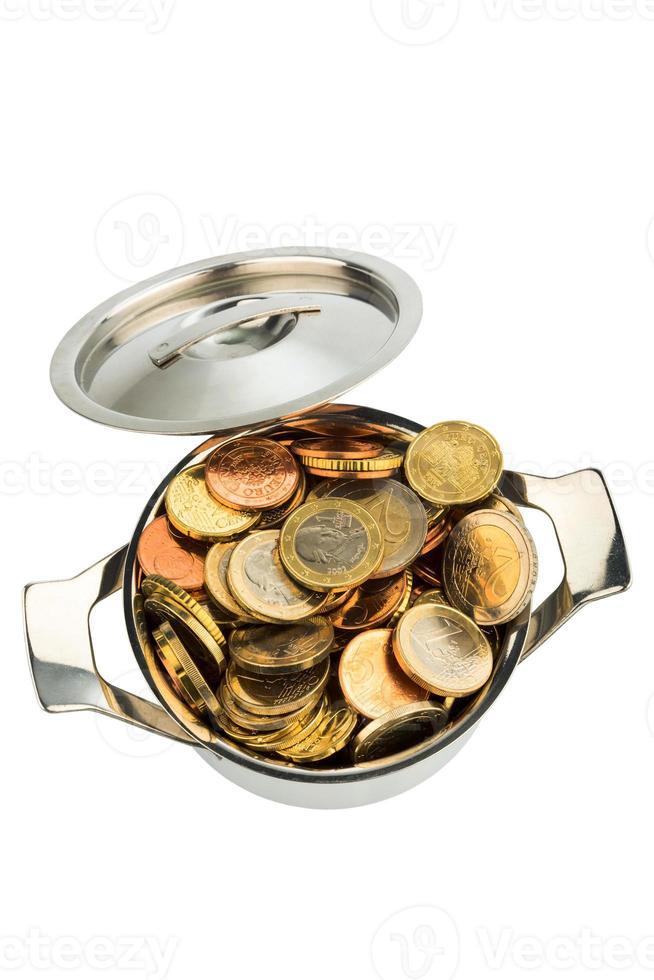 kochtopf und euromünzen foto
