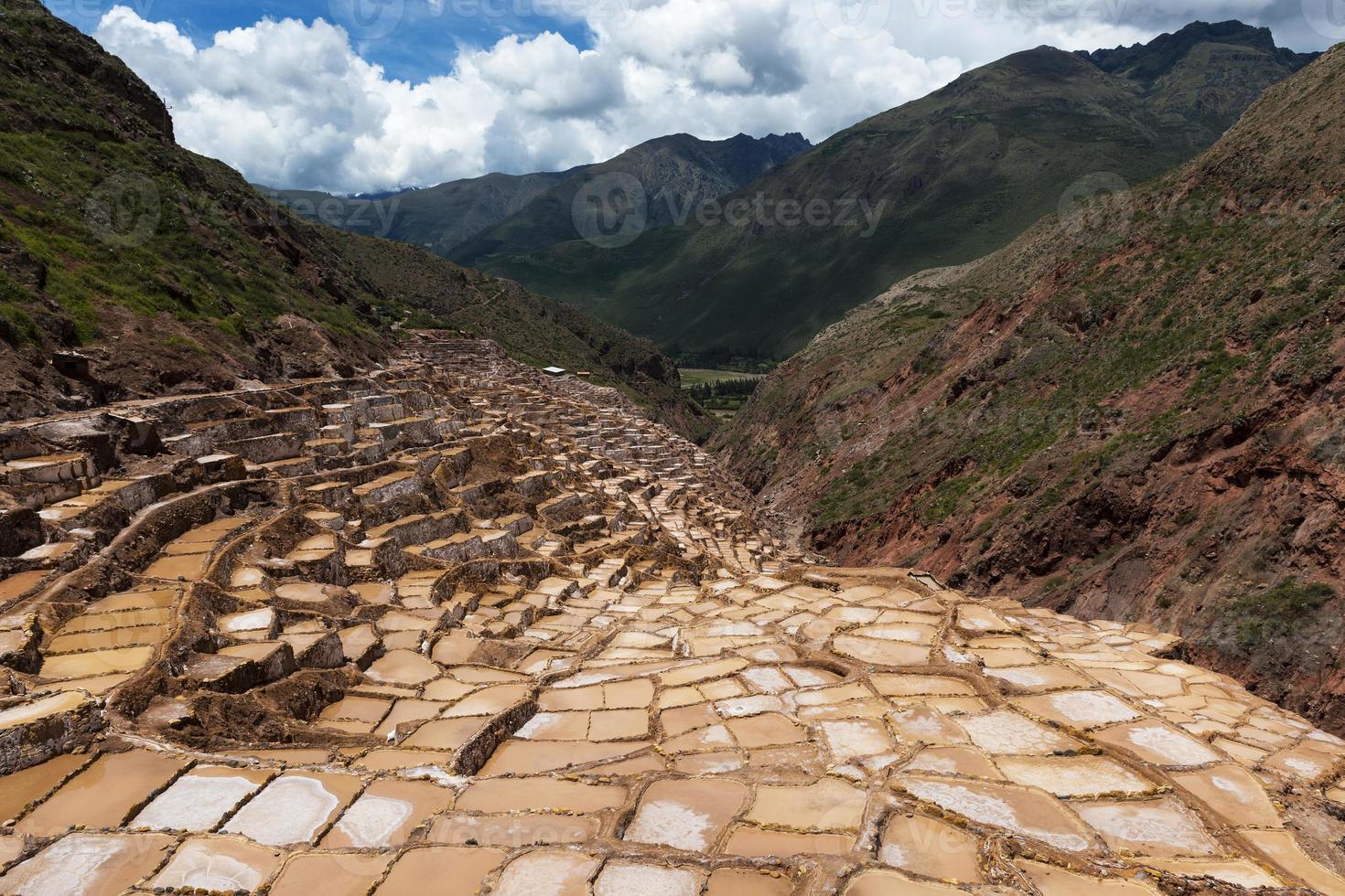 miniere di sale di Maras vicino al villaggio di Maras, valle sacra, Perù foto