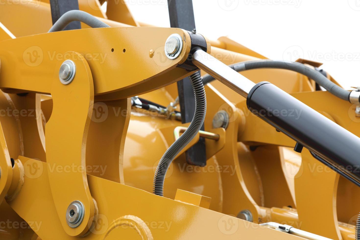 dettaglio di sfondo idraulico bulldozer bianco foto