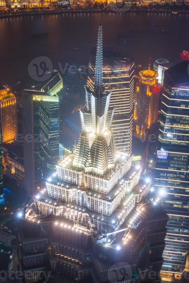 Shanghai pudong skyline di notte, jinmao tower, foto